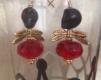 Black and Red Skull Fly Earrings