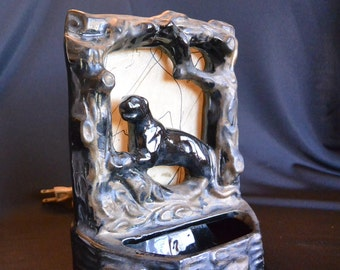 Mid Century Back Lit Black Panther TV Lamp Night Light and Tray