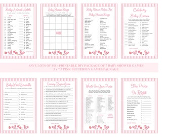 SALE Pink Butterfly Baby Shower Game Package, Printable Butterfly Baby Game, Butterfly Theme, Butterfly Shower Game - Printables 4 Less
