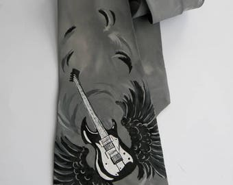 Men's Tie / Valentines Day Gift / Groomsmen Necktie / Art Necktie/ Pained Necktie/ Styling Necktie/ Artwork Guitar