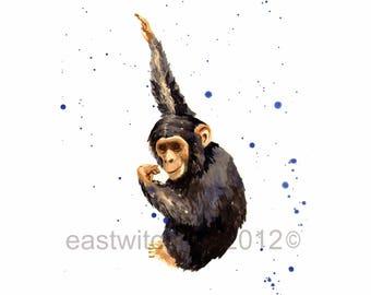 BABY MONKEY Print, chimpanzee art