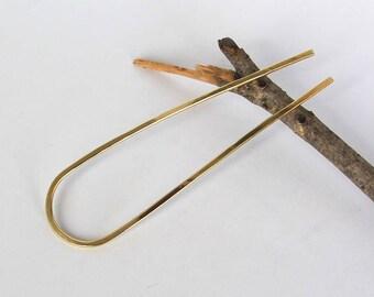 Brass Hair Fork Bun Holder U Shaped Hair Pin Hair Prong, Bun Pin Gold Hair Clip, Hair Slide For Long Hair, Hair Accessories, Womens Gift