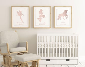 Mystical Creature rose gold - Dance with Fairies, Ride a Unicorn, Swim with Mermaids - Children nursery printable - 2 Sizes Instant Download
