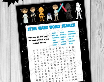 Star Wars Baby Shower Games Starwars Word Search Game Printable INSTANT  DOWNLOAD UPrint By Greenmelonstudios Starwars