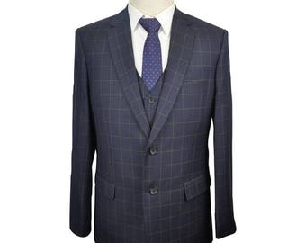 Formal Suit in Navy Blue Check
