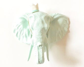 ICICLE BLUE, LARGE Elephant Head, Faux Taxidermy, Faux Animal Head Wall Mount, Safari Wall Art, Elephant Head, Pastel Nursery Mounted Animal