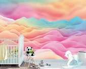 Dreamy Fairyland Ice Cream Cotton Candy Cloud Wall Mural - Reusable Peel & Stick Kid-Friendly Eco-Friendly Fabric Material