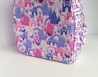 Childrens Backpack, kids Backpack, Toddler Backpack, Princesses & Castles - With Two Add-On Side Pockets (Ready-To-Ship)