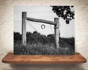 Horseshoe Fence Photograph - Fine Art Print - Black White Photography - Rustic Wall Art - Wall Decor -  Farm Pictures - Farmhouse Decor