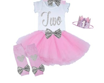 Second Birthday Tutu Outfit Pink and Silver 2nd Birthday Outfit Shirt Leg Warmers Hat Bow