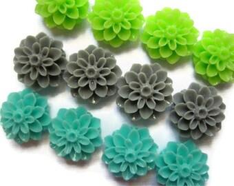 Modern Color Magnets, Pretty Flower Magnet Set, 12 pcs Aqua Gray Lime Green Magnets, Housewarming Gifts, Hostess Gifts, Wedding Favors