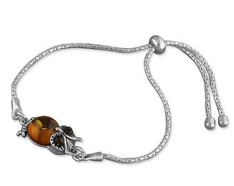 Cognac Amber Owl Slider Sterling Silver Bracelet