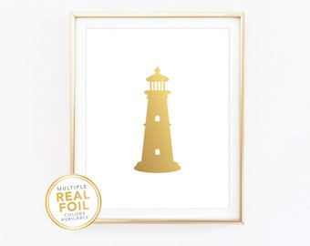 Gold foil Print, Nautical, Lighthouse, Real Foil Print, Silver foil, Beach House, Nautical, Sailor, Nautical Home
