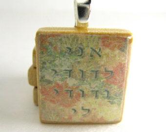 Ani L'Dodi - I am my beloved's - autumn leaves - Hebrew Scrabble tile