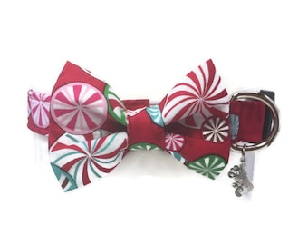 Peppermint Twist Christmas Bow Tie Dog Collar All Sizes