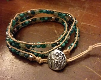 Blue Goddess Leather Wrap Bracelet