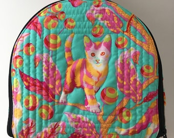 Soft sided divided case, Tula Pink abby Road, sewing, lunchbox, needlework, Disco Kitty in