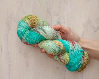 Hand dyed yarn, merino yarn, nylon yarn, sock yarn, hand dyed sock yarn, variegated yarn, coral yarn, blue yarn, green yarn, fingering yarn