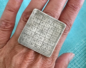 Tuareg Old Large Silver Protection Marabout Magical Ring with Tifinagh signs, Inner Diameter  2.1 cm  Size Us 11.5 cm