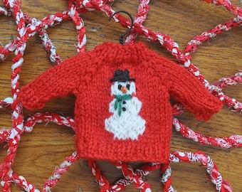 Snowman  Hand-Knit Sweater Ornament