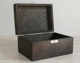 Wooden Gift and Keepsake Box / Dark Brown Box 6 x 4 x 3 inch / Plywood Box / Wood Gift Box / Storage Box / Small Box / Favor Box / Gift Box