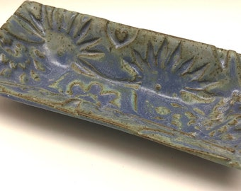 Ceramic tray, Rectangle  Weathered Blue  pattern , Tapas, sushi plates IN stock Ready to Ship