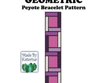 Peyote Pattern - Geometric - INSTANT DOWNLOAD PDF - Peyote Stitch Bracelet Pattern - One Drop Even Peyote Stitch - Geometric Peyote Pattern