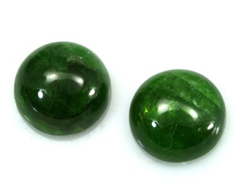 1 pc 10 mm chrome diopside round cabochon  100CB