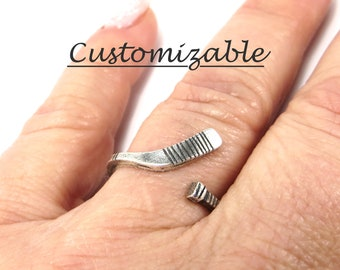 Hockey Ring, Ice Hockey Ring, Girls Hockey Jewelry, Sterling Silver Finish and Brass Finish, Adjustable, Hockey Stick Ring- Customizable