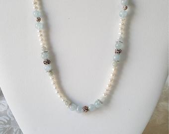 Fresh water pearls w/Aquamarine stones