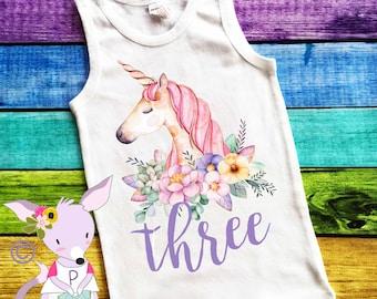 Unicorn Birthday Shirt Floral Birthday Tank Any Age First Birthday Shirt 2nd Birthday 3rd 4th 5th 6th 7th Birthday Shirt Unicorn Birthday