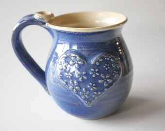 Indigo Blue and Oatmeal Heart Mug - Ready to Ship  - Holds 14 oz