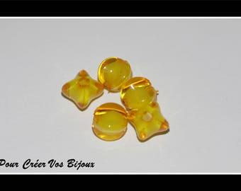 Set of 50 beads square color orange 8mm acrylic