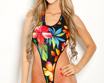 Bitsy's Bikinis Black with Multi Color Tropical Floral Monokini G-String One Piece Thong Minimal Coverage