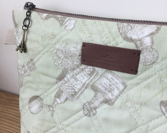 Quilted Zipper Pouch/ makeup bag/ cosmetic case