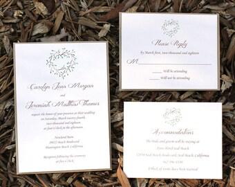 Rustic Farm Wedding Invitation - rustic wedding suite, elegant wedding set, green leaves, rustic weddings, green floral wreath, greenery
