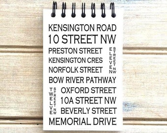 Calgary Alberta - Kensington - Love This Place - Street Name Notebook - Busroll Notepad Journal Custom Gift - Canada The Jitterbug Shop
