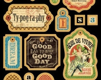 Graphic 45 Typography Chipboard Tags