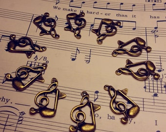Treble Clef Charms - Qty. 10 - Music Note Charm - Antique Bronze Charms - Music Charms - Antique Bronze Charms