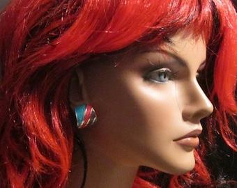 VINTAGE Multicolor Striped Pierced Hoop Earrings - Striped Hoop Earrings - Hoops - Pierced Earrings