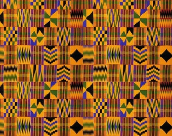 "4 Pack Of Smaller Scale 6""x6"" Pieces - Serengeti Kente Cloth Premium Patterned Vinyl Vibrant Vinyl™ - Adhesive Vinyl + HTV, Kente Vinyl"