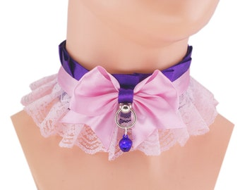 pink collar Kitten Play Collar DDlg collar Pet Play Collar purple collar Choker Kittenplay Collar BDSM ddlg Goth kawaii lolita collar D4