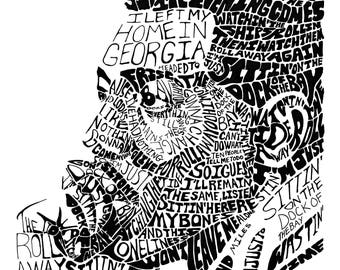 Otis Redding Portrait - Blues Jazz Soul Music - Dock of the Bay - Lyrical Typography Macon Georgia Artwork