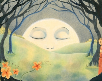 """Beautiful Art Print, limited edition - """"A Pale Moon"""""""