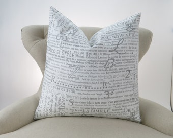Throw Pillow, Decorative Cushion, Euro Sham, Accent Pillow, Newsprint Pillow, Grey Decor -MANY SIZES- Newsletter Storm, Premier Prints