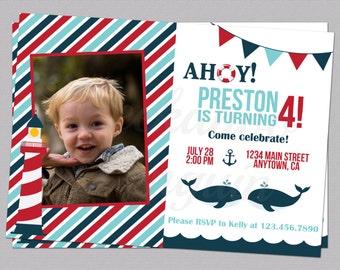 Nautical Birthday Invitation, Sailor Birthday Invite, Photo Birthday Invite, Kids Birthday Invite, Whale Invitation, Beach Party, Printable