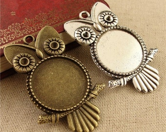 20Pieces/lot Zinc Alloy Owl Pendant Trays Blanks Bases Cameo Cabochon Setting fit 25mm/1 inch Round Cabochons