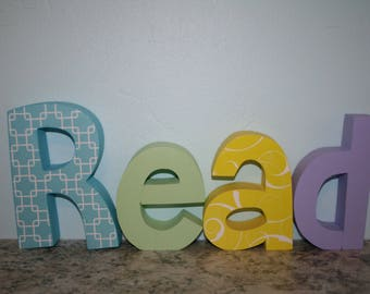 Wood letter sign, Wooden letters, 4 letter set, Custom play room decor, Play room wall art, Nursery letters, Teacher gift, Wood sign