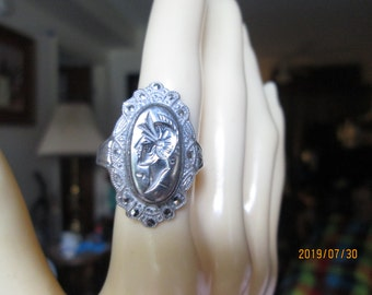 Vintage Beautiful Genuine Marcasite Warrior 925 Sterling Silver Ring Size 8.75, Weight 4.2 Grams