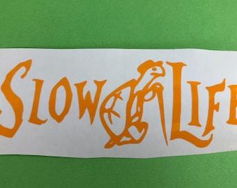 Slow Life Turtle Yellow Vinyl Decal, New, Gift